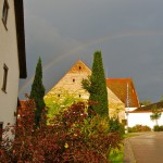 We caught sight of a rainbow over Schloß Eggersberg, right behind our apartment.