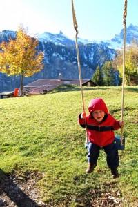 Swinging in Gimmelwald