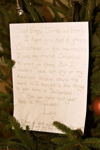 Santa's note on our tree