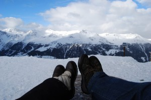 Kicking our feet up at the end of the hike